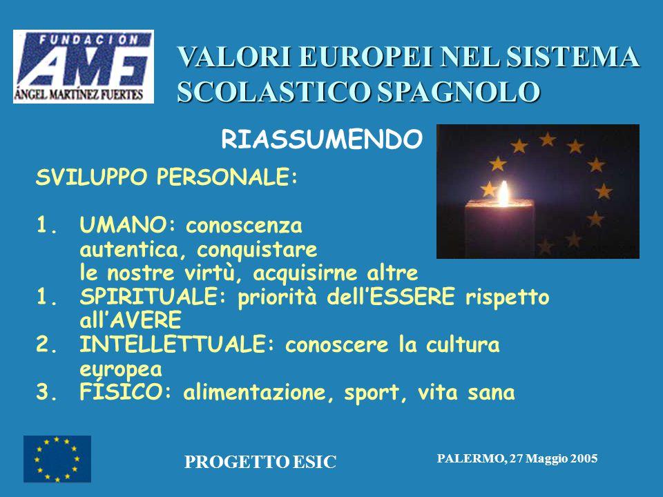 VALORI EUROPEI NEL SISTEMA SCOLASTICO SPAGNOLO PALERMO, 27 Maggio 2005 PROGETTO ESIC RIASSUMENDO SVILUPPO PERSONALE: 1.