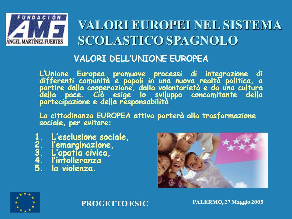 VALORI EUROPEI NEL SISTEMA SCOLASTICO SPAGNOLO PALERMO, 27 Maggio 2005 PROGETTO ESIC VALORI DELL'UNIONE EUROPEA L'Unione Europea promuove processi di integrazione di differenti comunità e popoli in una nuova realtà politica, a partire dalla cooperazione, dalla volontarietà e da una cultura della pace.