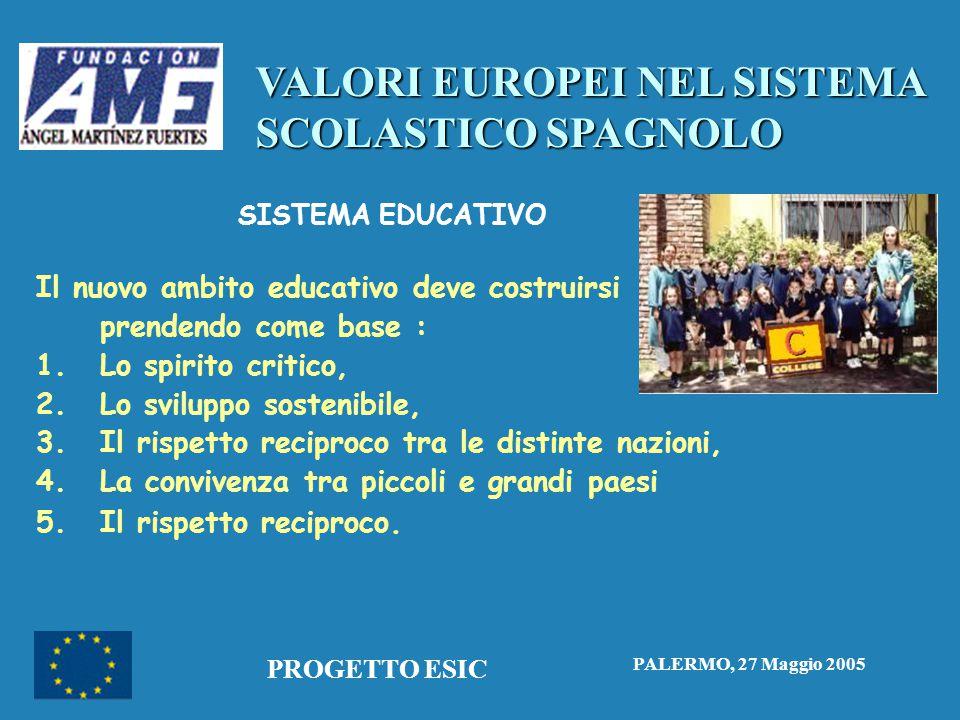 VALORI EUROPEI NEL SISTEMA SCOLASTICO SPAGNOLO PALERMO, 27 Maggio 2005 PROGETTO ESIC SISTEMA EDUCATIVO Il nuovo ambito educativo deve costruirsi prendendo come base : 1.