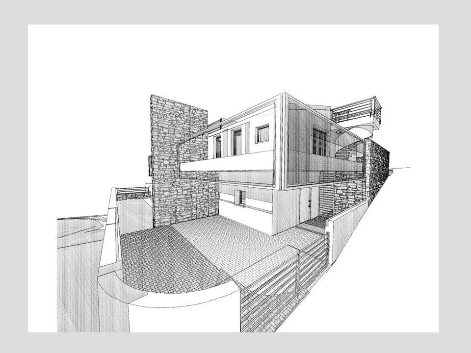 •camino interno ed esterno; •superficie coperta abitabile mq140 – superficie complessiva mq 410 •grandi terrazze abitabili a diversi livelli; •prospetto nord con aperture ridotte al minimo; •parapetti con vetro fotovoltaico; •copertura in alluminio con nastri fotovoltaici; •classificazione dell'edificio in classe A a basso consumo energetico con 30kwh/mq; •vetri termici a doppia camera e triplo vetro con sistema di schermatura a lamelle interne; •struttura portante in calcestruzzo e muratura di tamponamento a strati con spessore totale di cm 40 (dall'interno all'esterno 8 +8+12+12) con tavolato,aria,bimattone e cappotto ventilato esterno; •Casa parzialmente interrarata con ampia intercapedine di ventilazione; •tubo solare illuminatore; CASA MEDIANA