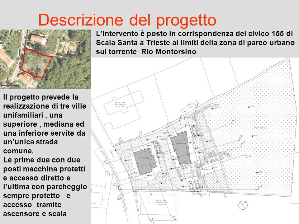 Descrizione del progetto L'intervento è posto in corrispondenza del civico 155 di Scala Santa a Trieste ai limiti della zona di parco urbano sul torre