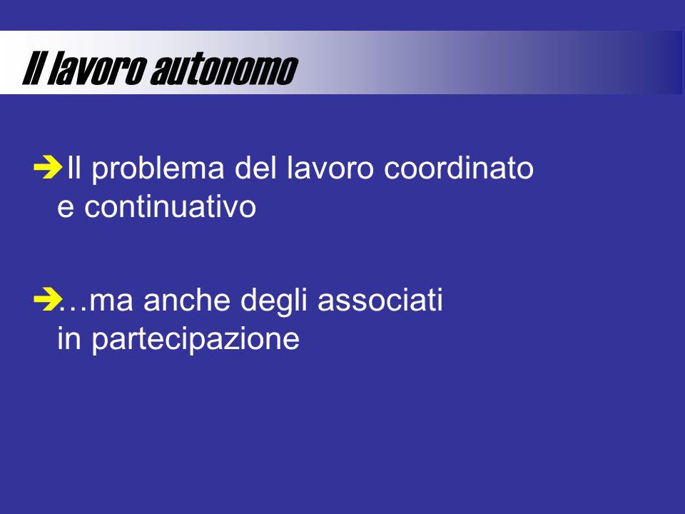 Il lavoro autonomo  Il problema del lavoro coordinato e continuativo  …ma anche degli associati in partecipazione