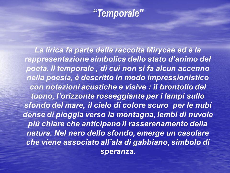 Temporale La lirica fa parte della raccolta Mirycae ed è la rappresentazione simbolica dello stato d'animo del poeta.