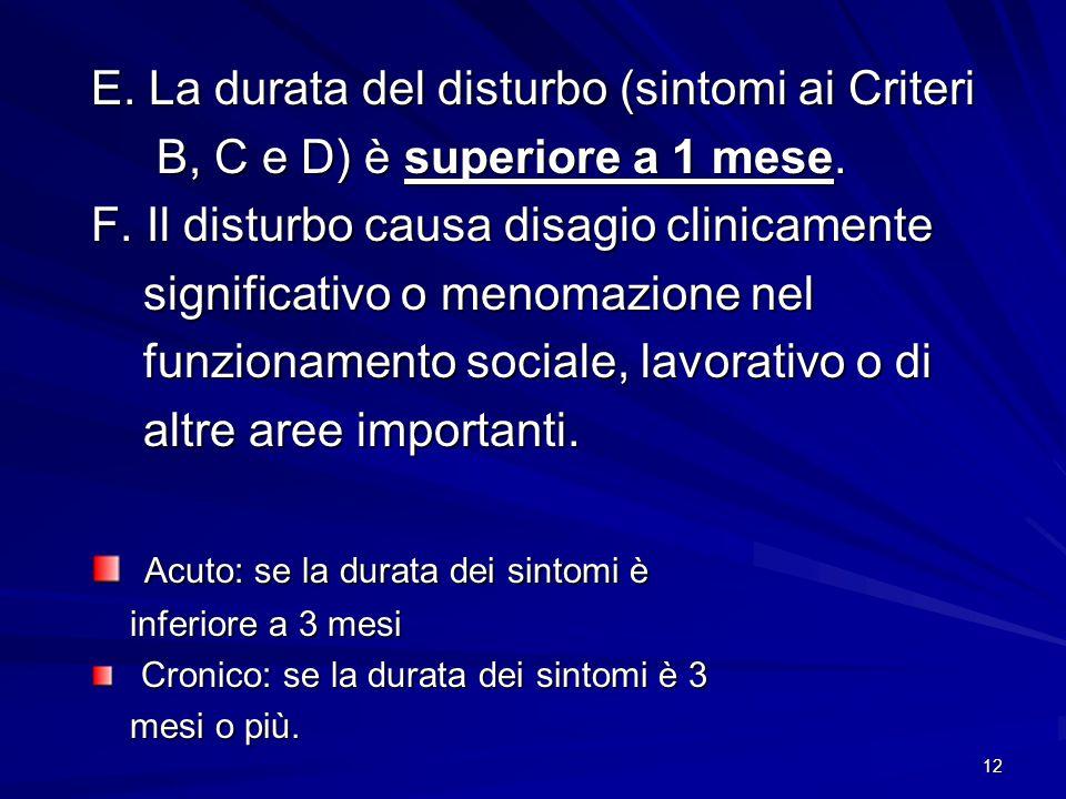 12 E. La durata del disturbo (sintomi ai Criteri B, C e D) è superiore a 1 mese. B, C e D) è superiore a 1 mese. F. Il disturbo causa disagio clinicam