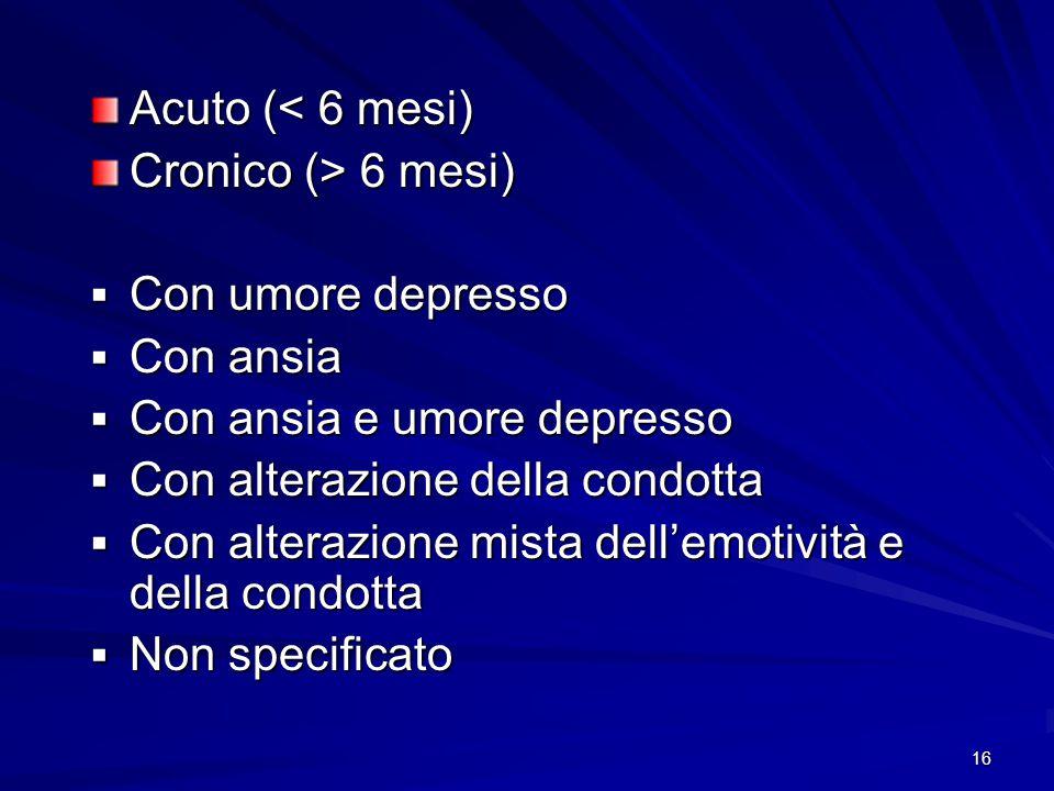 16 Acuto (< 6 mesi) Cronico (> 6 mesi)  Con umore depresso  Con ansia  Con ansia e umore depresso  Con alterazione della condotta  Con alterazion