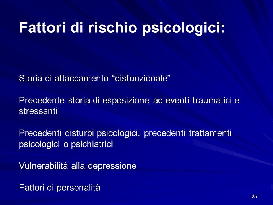"""25 Fattori di rischio psicologici: Storia di attaccamento """"disfunzionale"""" Precedente storia di esposizione ad eventi traumatici e stressanti Precedent"""