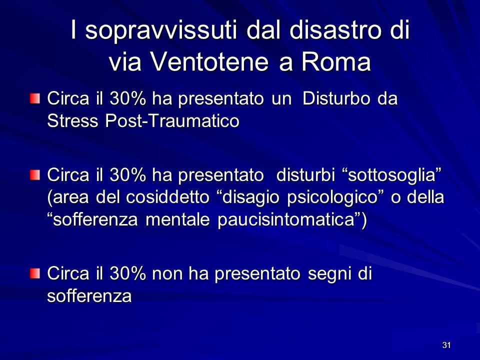 31 I sopravvissuti dal disastro di via Ventotene a Roma Circa il 30% ha presentato un Disturbo da Stress Post-Traumatico Circa il 30% ha presentato di