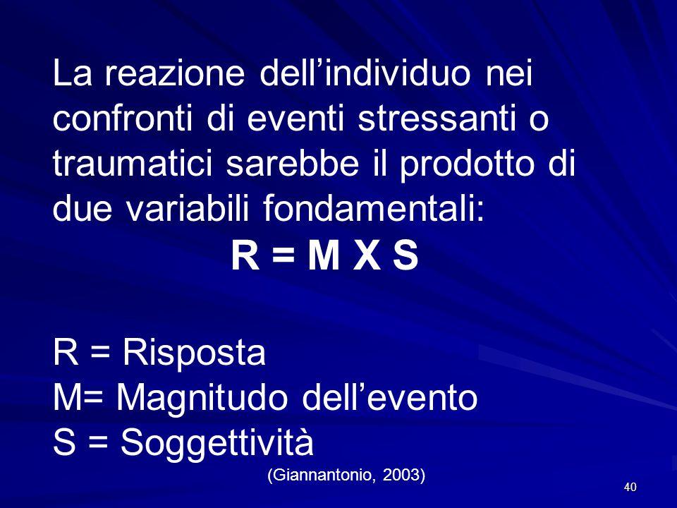 40 La reazione dell'individuo nei confronti di eventi stressanti o traumatici sarebbe il prodotto di due variabili fondamentali: R = M X S R = Rispost