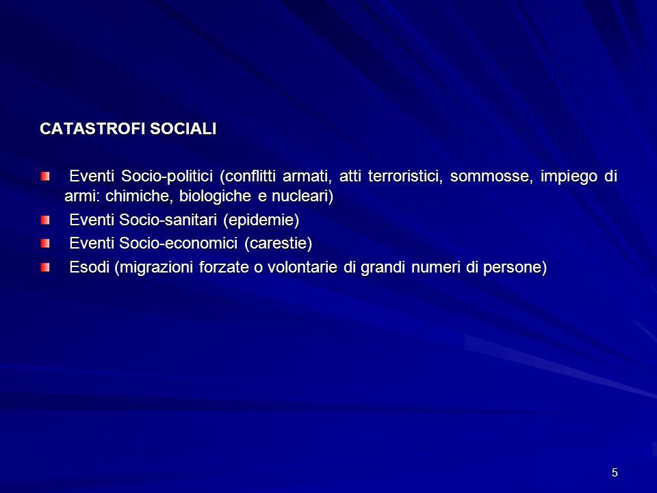 5 CATASTROFI SOCIALI Eventi Socio-politici (conflitti armati, atti terroristici, sommosse, impiego di armi: chimiche, biologiche e nucleari) Eventi So