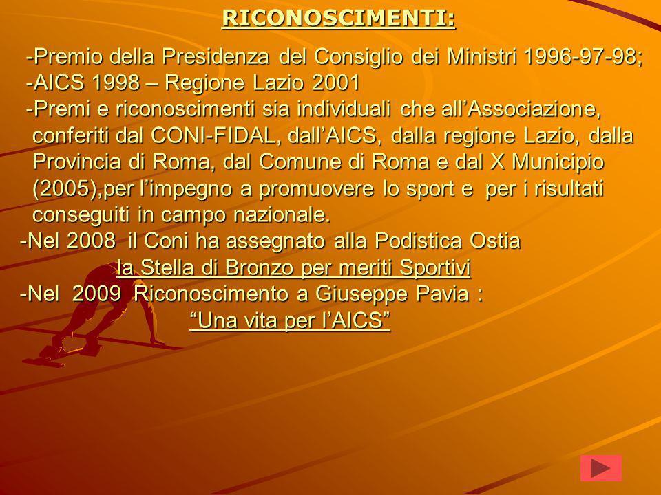 -Premio della Presidenza del Consiglio dei Ministri 1996-97-98; -AICS 1998 – Regione Lazio 2001 -Premi e riconoscimenti sia individuali che all'Associazione, conferiti dal CONI-FIDAL, dall'AICS, dalla regione Lazio, dalla Provincia di Roma, dal Comune di Roma e dal X Municipio (2005),per l'impegno a promuovere lo sport e per i risultati conseguiti in campo nazionale.