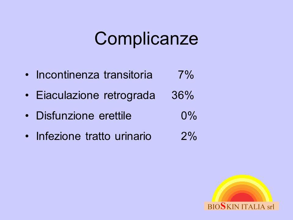 Complicanze •Incontinenza transitoria 7% •Eiaculazione retrograda36% •Disfunzione erettile 0% •Infezione tratto urinario 2%