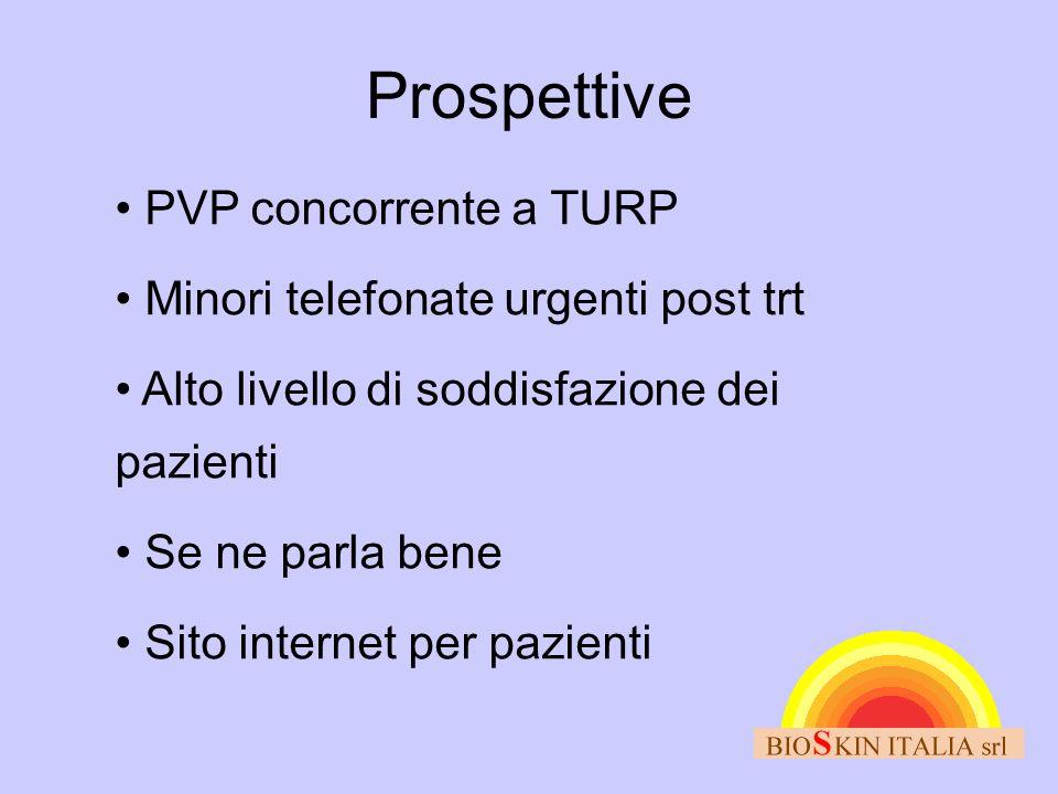 Prospettive • PVP concorrente a TURP • Minori telefonate urgenti post trt • Alto livello di soddisfazione dei pazienti • Se ne parla bene • Sito inter
