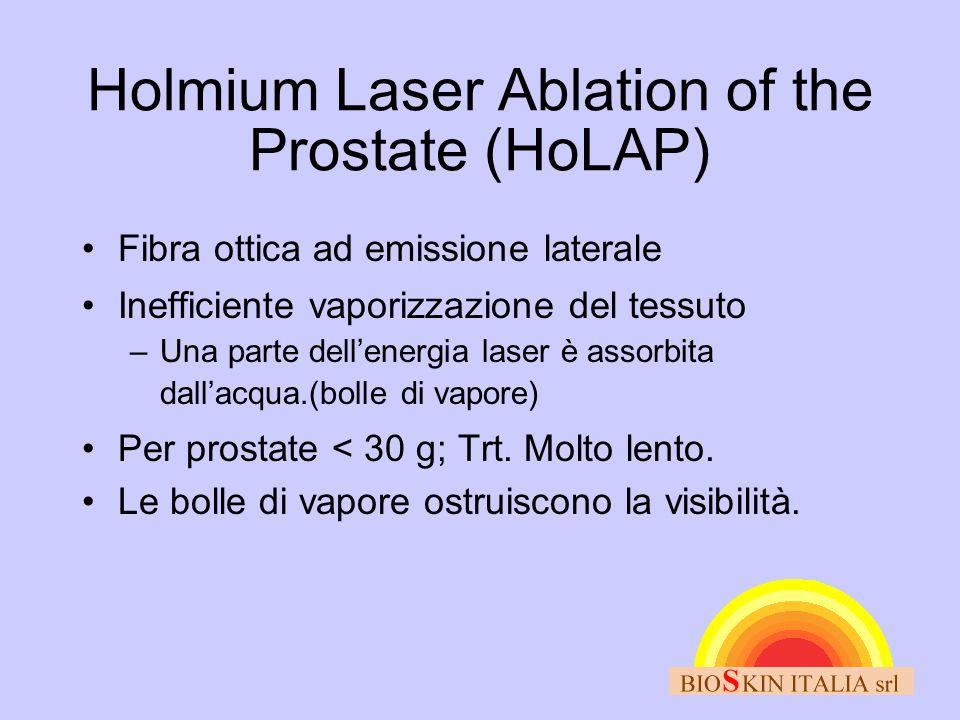 Holmium Laser Ablation of the Prostate (HoLAP) •Fibra ottica ad emissione laterale •Inefficiente vaporizzazione del tessuto –Una parte dell'energia la