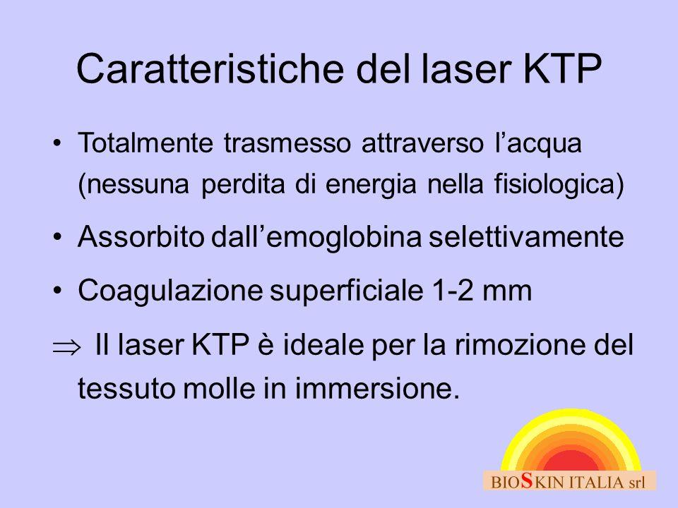 Caratteristiche del laser KTP •Totalmente trasmesso attraverso l'acqua (nessuna perdita di energia nella fisiologica) •Assorbito dall'emoglobina selet