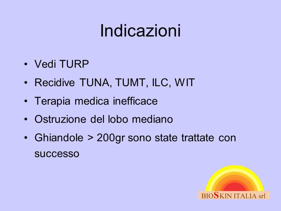 Indicazioni •Vedi TURP •Recidive TUNA, TUMT, ILC, WIT •Terapia medica inefficace •Ostruzione del lobo mediano •Ghiandole > 200gr sono state trattate c