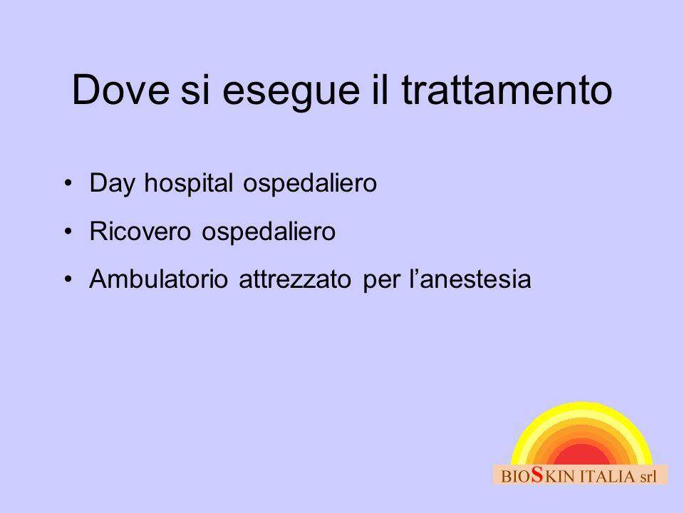 Dove si esegue il trattamento •Day hospital ospedaliero •Ricovero ospedaliero •Ambulatorio attrezzato per l'anestesia