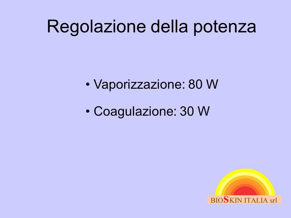 Regolazione della potenza • Vaporizzazione: 80 W • Coagulazione: 30 W