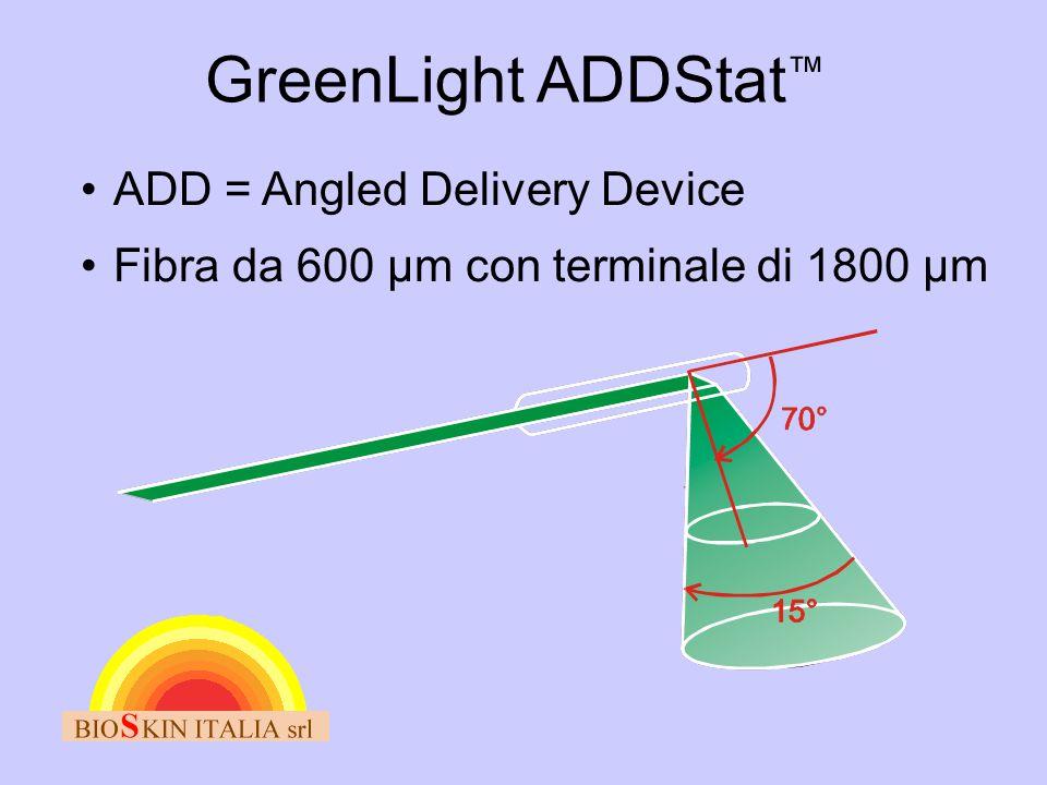 GreenLight ADDStat ™ •ADD = Angled Delivery Device •Fibra da 600 µm con terminale di 1800 µm