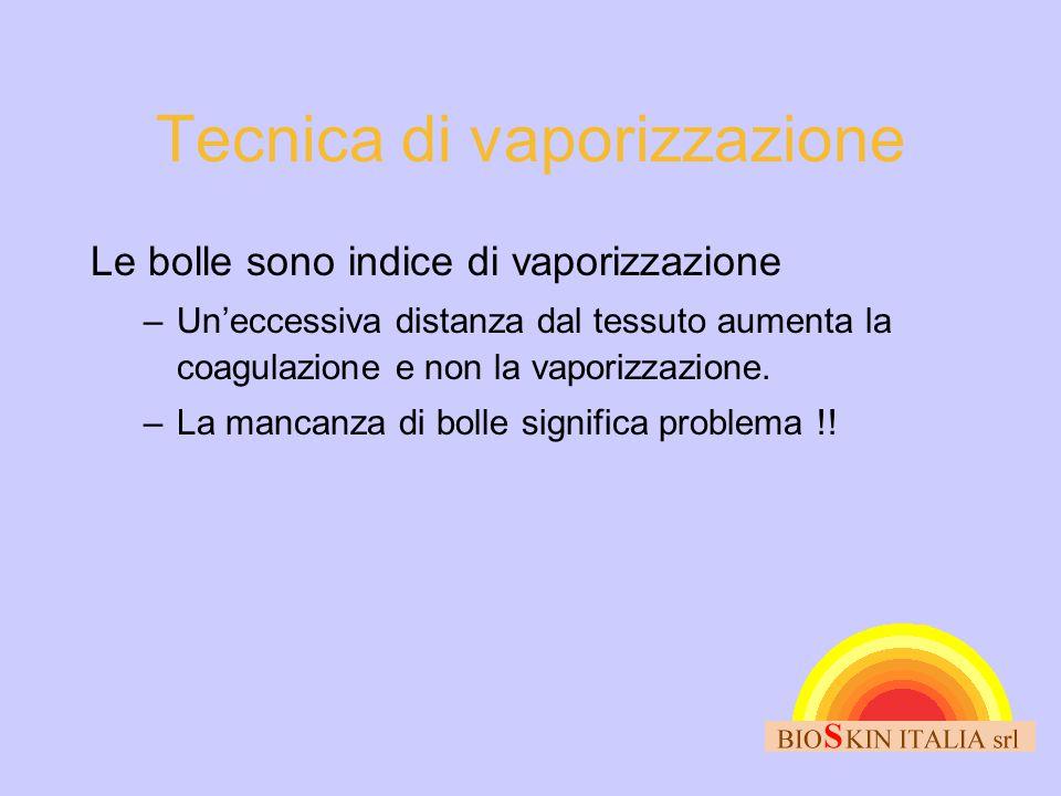 Tecnica di vaporizzazione Le bolle sono indice di vaporizzazione –Un'eccessiva distanza dal tessuto aumenta la coagulazione e non la vaporizzazione. –