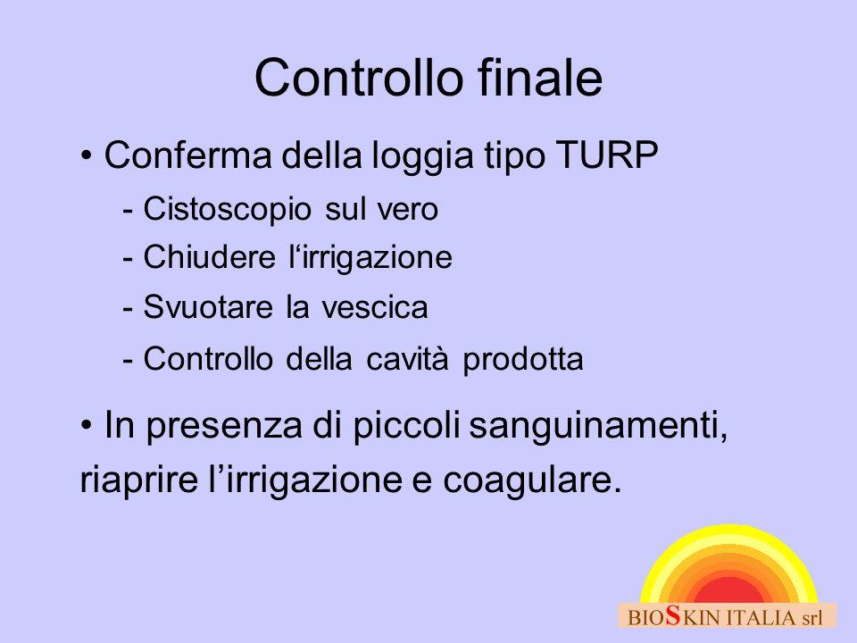 Controllo finale • Conferma della loggia tipo TURP - Cistoscopio sul vero - Chiudere l'irrigazione - Svuotare la vescica - Controllo della cavità prod