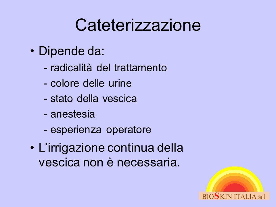 Cateterizzazione •Dipende da:  radicalità del trattamento  colore delle urine  stato della vescica  anestesia  esperienza operatore •L'irrigazion