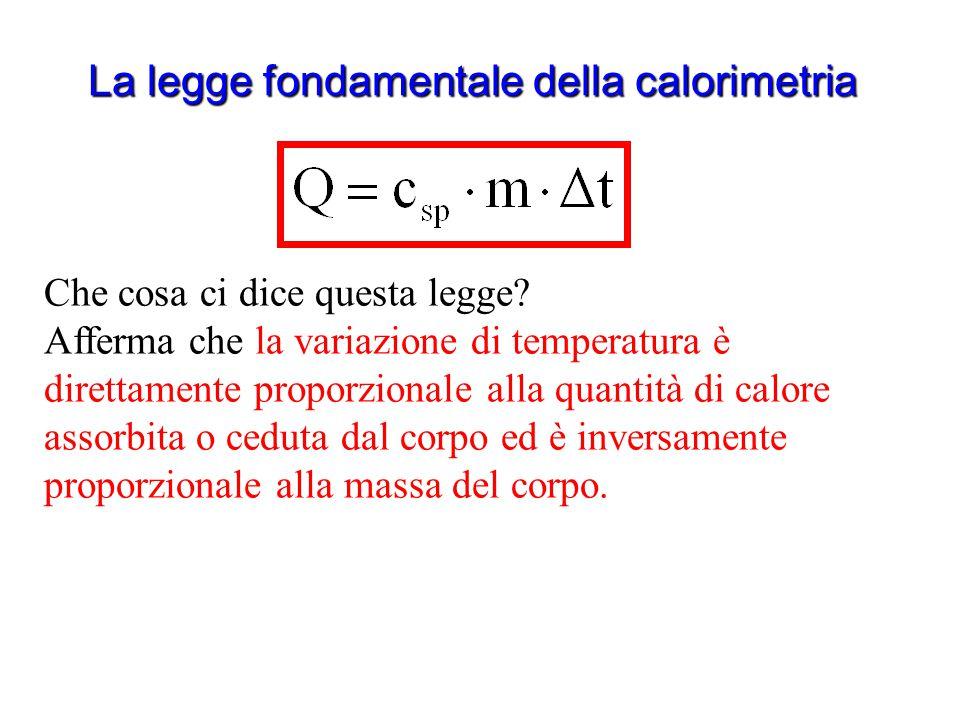 La legge fondamentale della calorimetria Per convenzione diciamo che Q è positivo quando il corpo assorbe calore Ma se il corpo assorbe calore la sua
