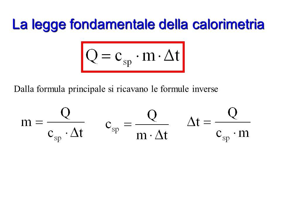 La legge fondamentale della calorimetria Che cosa ci dice questa legge? Afferma che la variazione di temperatura è direttamente proporzionale alla qua
