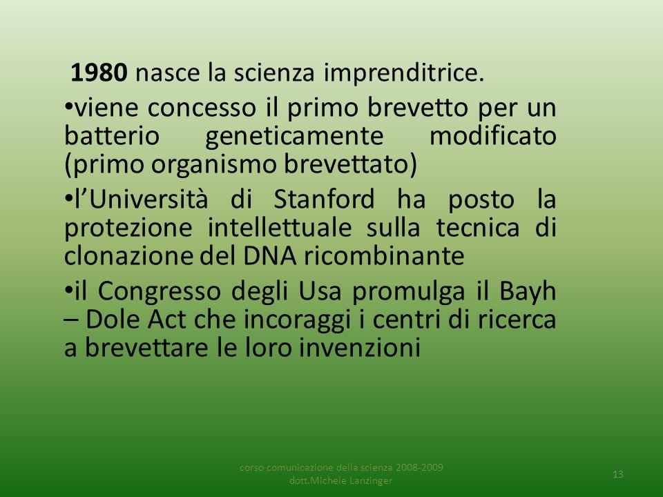 1980 nasce la scienza imprenditrice. • viene concesso il primo brevetto per un batterio geneticamente modificato (primo organismo brevettato) • l'Univ