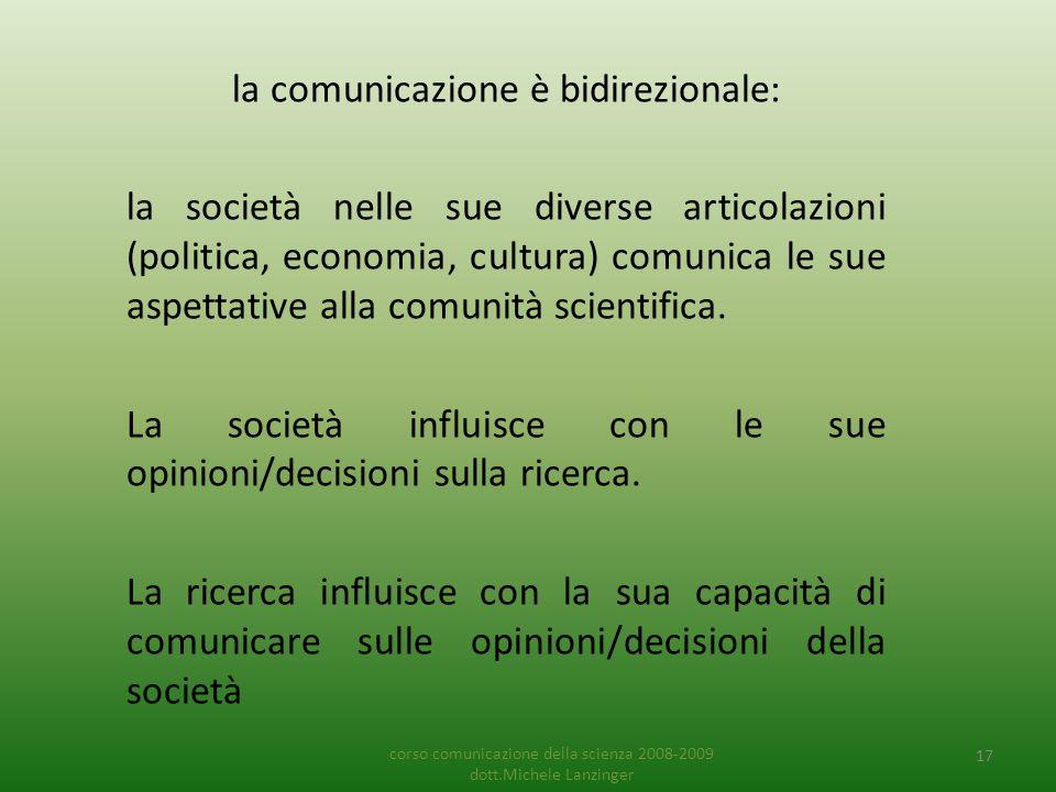 la comunicazione è bidirezionale: la società nelle sue diverse articolazioni (politica, economia, cultura) comunica le sue aspettative alla comunità scientifica.