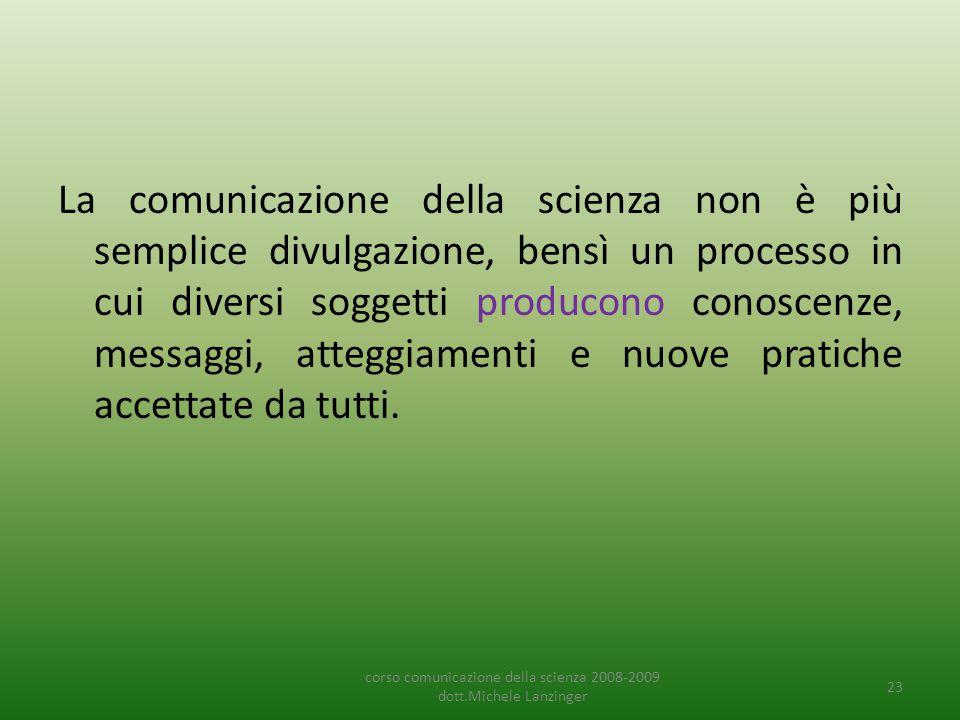 La comunicazione della scienza non è più semplice divulgazione, bensì un processo in cui diversi soggetti producono conoscenze, messaggi, atteggiament