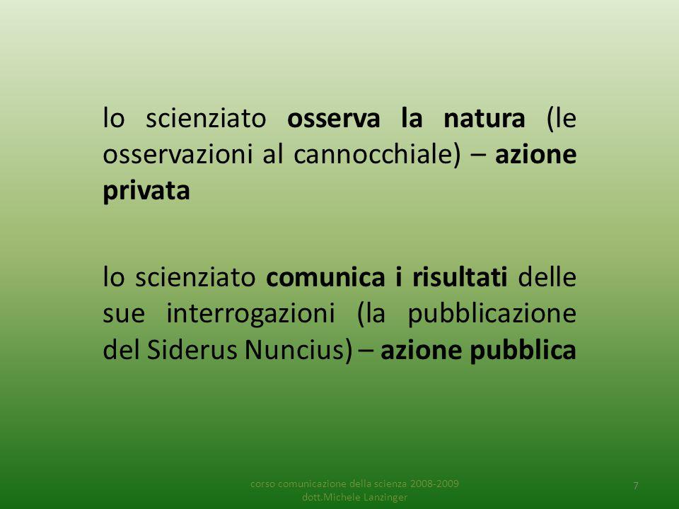 lo scienziato osserva la natura (le osservazioni al cannocchiale) – azione privata lo scienziato comunica i risultati delle sue interrogazioni (la pub
