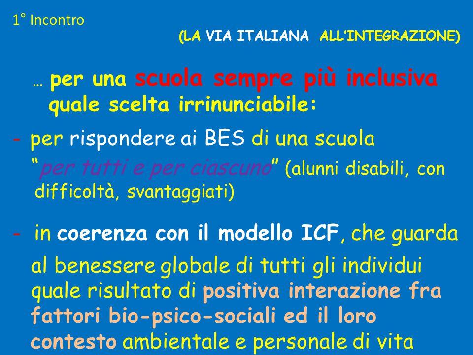 """(LA VIA ITALIANA ALL'INTEGRAZIONE) … per una scuola sempre più inclusiva quale scelta irrinunciabile: - per rispondere ai BES di una scuola """"per tutti"""