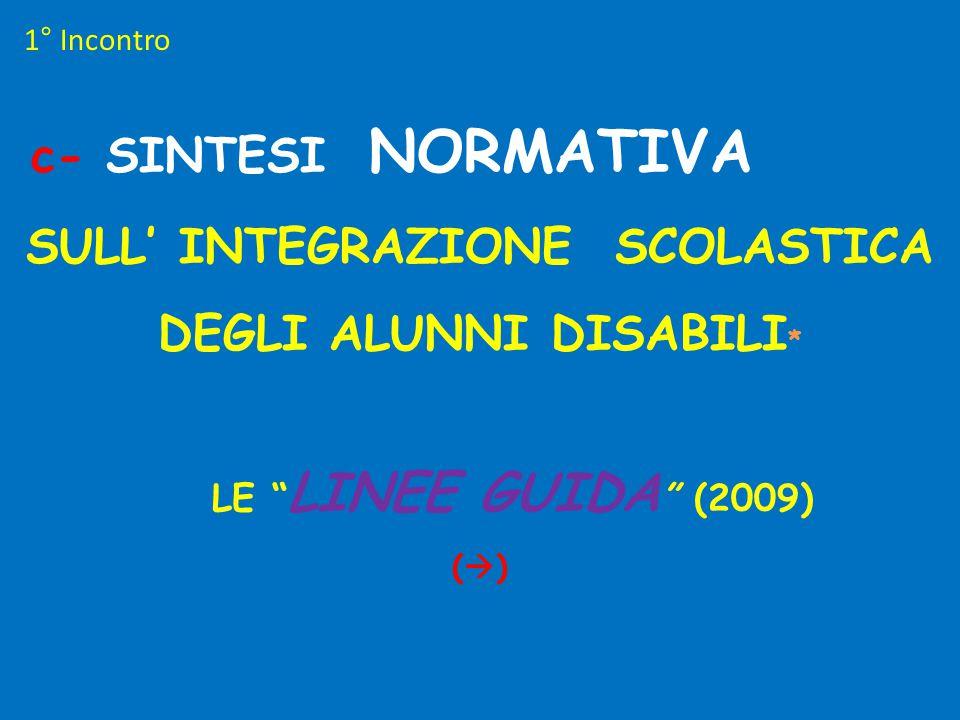 """c- SINTESI NORMATIVA SULL' INTEGRAZIONE SCOLASTICA DEGLI ALUNNI DISABILI * LE """" LINEE GUIDA """" (2009) (  ) 1° Incontro"""