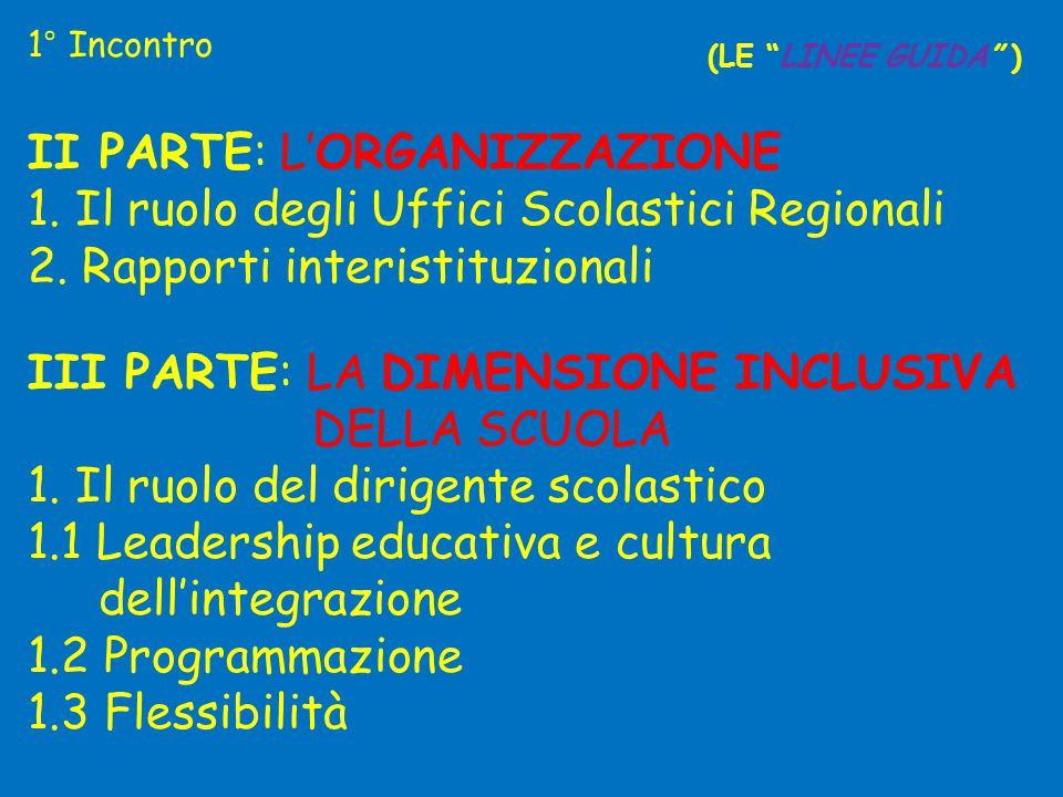 """1° Incontro (LE """"LINEE GUIDA"""" ) II PARTE: L'ORGANIZZAZIONE 1. Il ruolo degli Uffici Scolastici Regionali 2. Rapporti interistituzionali III PARTE: LA"""