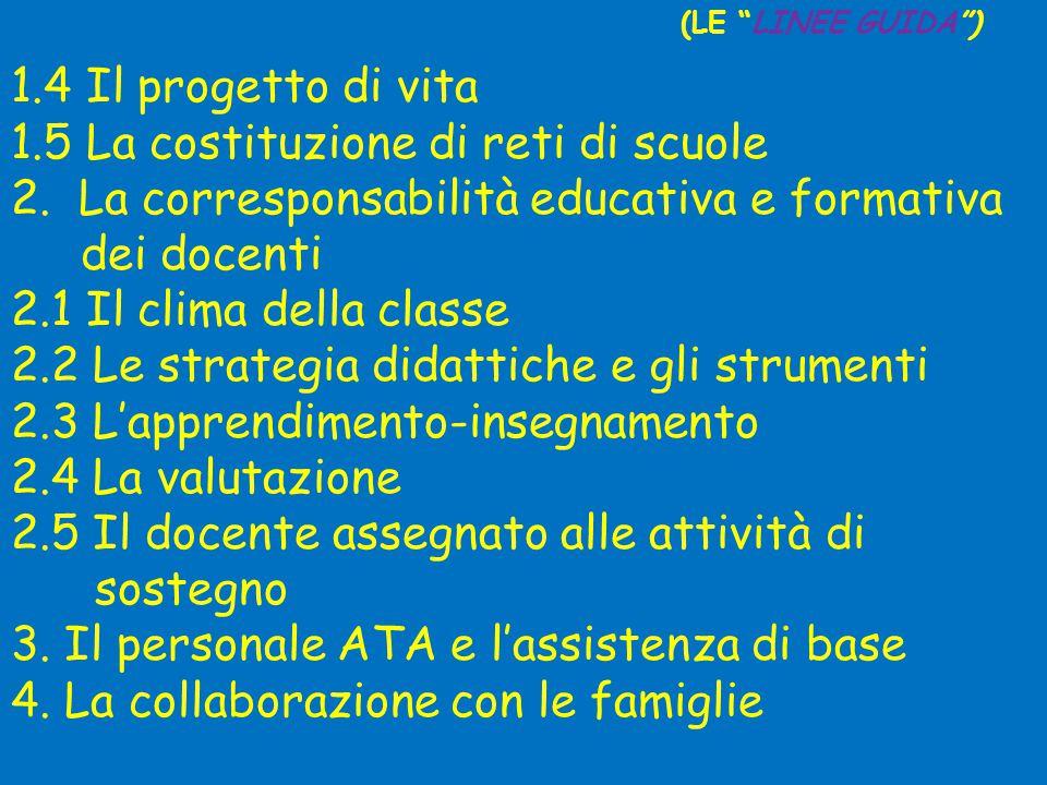 1.4 Il progetto di vita 1.5 La costituzione di reti di scuole 2.