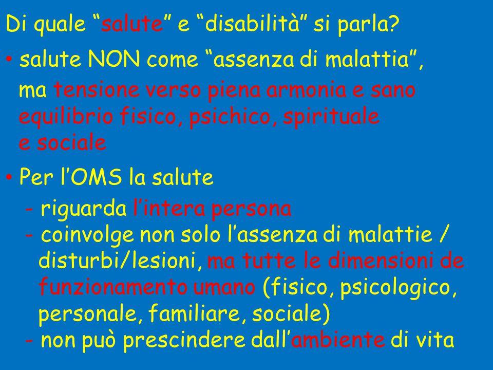 """Di quale """"salute"""" e """"disabilità"""" si parla? • salute NON come """"assenza di malattia"""", ma tensione verso piena armonia e sano equilibrio fisico, psichico"""