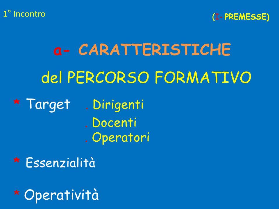1° Incontro (I- PREMESSE) a- CARATTERISTICHE del PERCORSO FORMATIVO * Target.