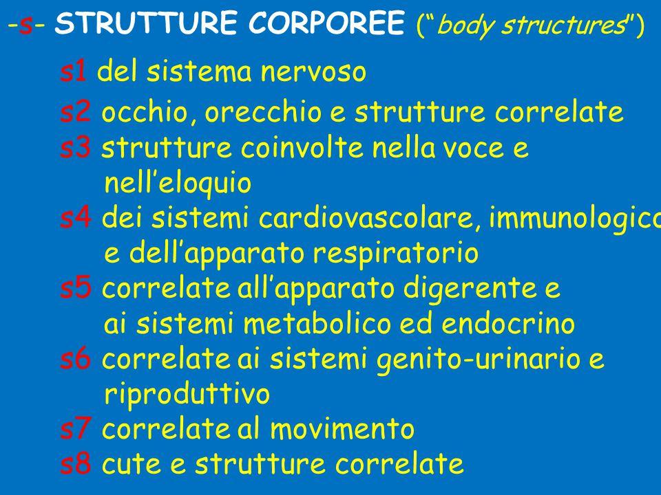 -s- STRUTTURE CORPOREE ( body structures ) s1 del sistema nervoso s2 occhio, orecchio e strutture correlate s3 strutture coinvolte nella voce e nell'eloquio s4 dei sistemi cardiovascolare, immunologico e dell'apparato respiratorio s5 correlate all'apparato digerente e ai sistemi metabolico ed endocrino s6 correlate ai sistemi genito-urinario e riproduttivo s7 correlate al movimento s8 cute e strutture correlate