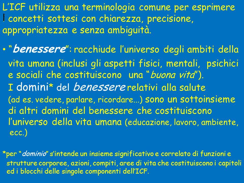"""L'ICF utilizza una terminologia comune per esprimere i concetti sottesi con chiarezza, precisione, appropriatezza e senza ambiguità. l • """" benessere """""""