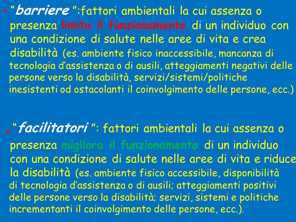 • barriere :fattori ambientali la cui assenza o presenza limita il funzionamento di un individuo con una condizione di salute nelle aree di vita e crea disabilità (es.