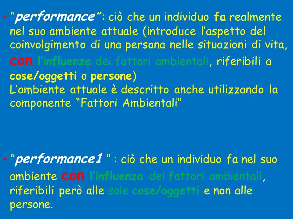 """• """" performance """" : ciò che un individuo fa realmente nel suo ambiente attuale (introduce l'aspetto del coinvolgimento di una persona nelle situazioni"""