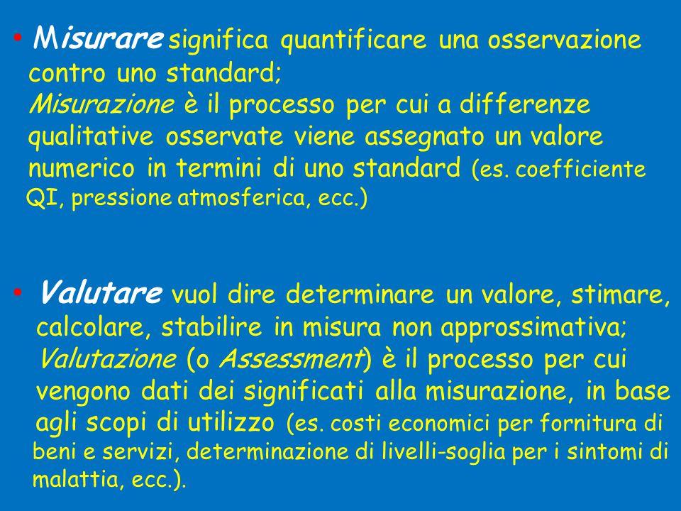 • Misurare significa quantificare una osservazione contro uno standard; Misurazione è il processo per cui a differenze qualitative osservate viene assegnato un valore numerico in termini di uno standard (es.