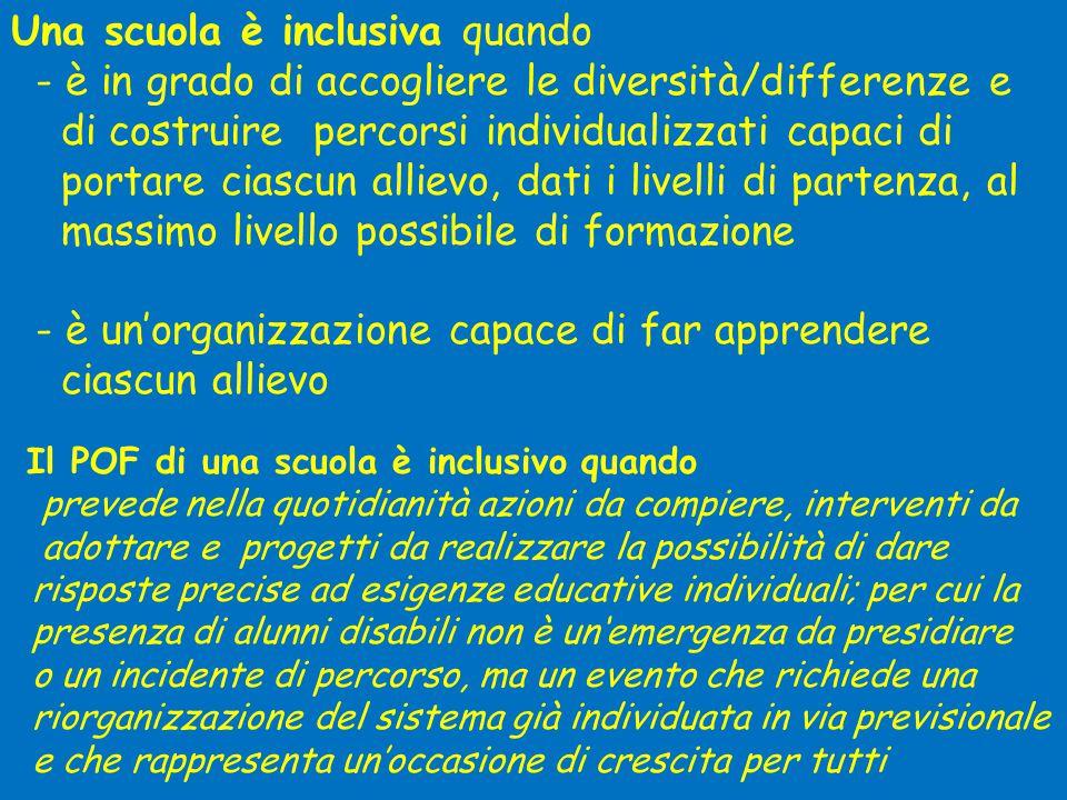 Una scuola è inclusiva quando - è in grado di accogliere le diversità/differenze e di costruire percorsi individualizzati capaci di portare ciascun al