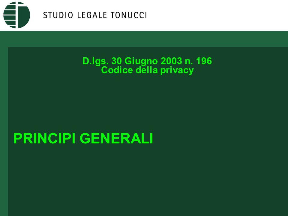 D.lgs. 30 Giugno 2003 n. 196 Codice della privacy PRINCIPI GENERALI