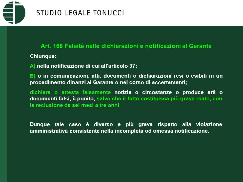 Art. 168 Falsità nelle dichiarazioni e notificazioni al Garante Chiunque: A) nella notificazione di cui all'articolo 37; B) o in comunicazioni, atti,