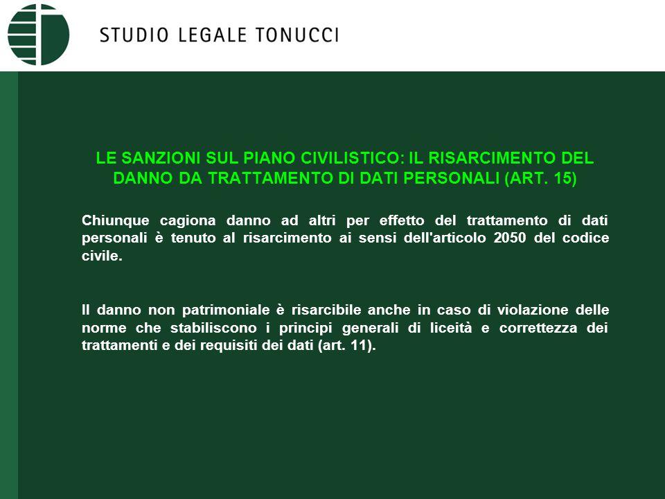 LE SANZIONI SUL PIANO CIVILISTICO: IL RISARCIMENTO DEL DANNO DA TRATTAMENTO DI DATI PERSONALI (ART.