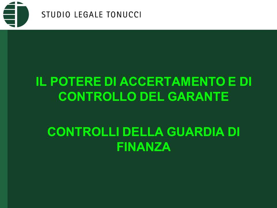 IL POTERE DI ACCERTAMENTO E DI CONTROLLO DEL GARANTE (ARTT.