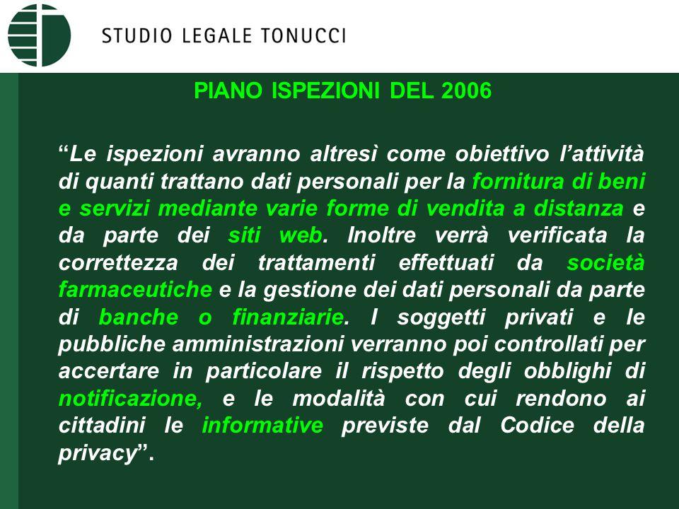 """PIANO ISPEZIONI DEL 2006 """"Le ispezioni avranno altresì come obiettivo l'attività di quanti trattano dati personali per la fornitura di beni e servizi"""