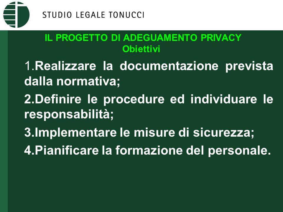 IL PROGETTO DI ADEGUAMENTO PRIVACY Obiettivi 1.Realizzare la documentazione prevista dalla normativa; 2.Definire le procedure ed individuare le responsabilità; 3.Implementare le misure di sicurezza; 4.Pianificare la formazione del personale.