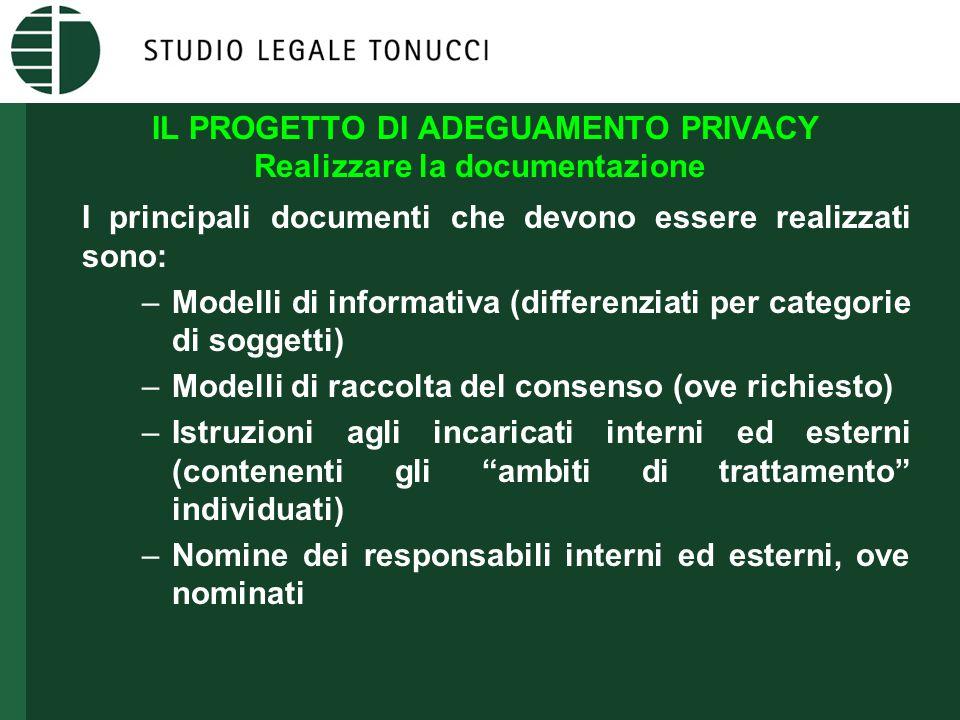 IL PROGETTO DI ADEGUAMENTO PRIVACY Realizzare la documentazione I principali documenti che devono essere realizzati sono: –Modelli di informativa (dif